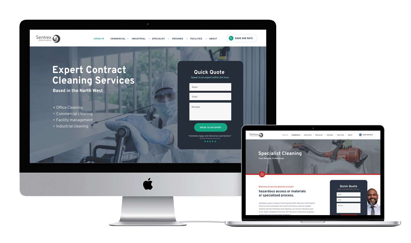 contract cleaners website build